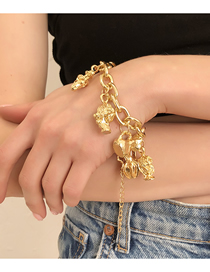 Fashion Golden Alloy Vase Head Thick Chain Bracelet