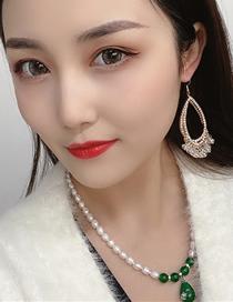 Fashion Green Geometric Pearl Necklace
