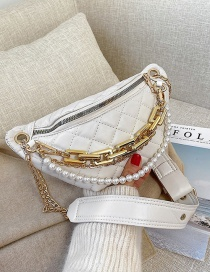 Fashion White Pearl Chain Embroidery Thread One-shoulder Messenger Bag