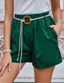 Fashion Army Green Mid-waist Shorts With Belt