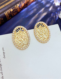 Fashion Gold Color Golden Hollow Flower Earrings