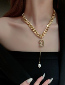 Fashion Gold Color Color Thick Chain Letter B Pearl Necklace