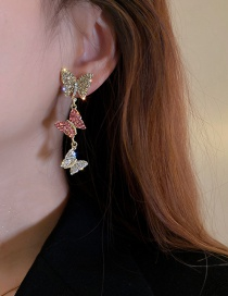 Fashion Silver Color Needle Gold Color Full Diamond Butterfly Earrings