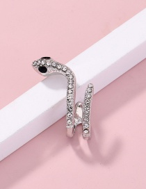 Fashion Silver Color Curved Diamond Small Snake-shaped Earrings Single Set