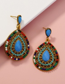 Fashion Color Rice Beads Full Rhinestone Drop Earrings