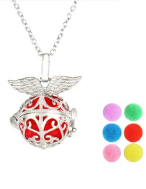 Fashion Silver Color Angel Wings Hollow Pattern Aroma Necklace