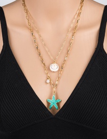 Fashion Green Metal Starfish Shell Freshwater Pearl Multilayer Necklace