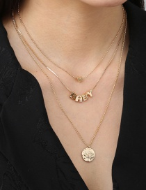 Fashion Gold Color Letter Metal Tree Of Life Round Heart Necklace