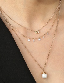 Fashion White Pearl Zircon Letter Rice Bead Multilayer Necklace