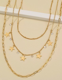 Fashion Gold Color Five-pointed Star Zircon Tassel Stacked Multi-layer Necklace