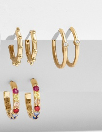 Fashion Color Round Diamond-studded C-shaped Alloy Bamboo Earring Set