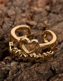 Fashion Gold Color Adjustable Double Ring With Heart Opening