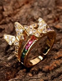 Fashion Color Double Color Zircon Open Butterfly Ring