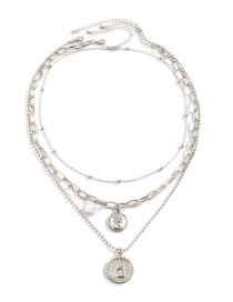Fashion Silver Color Shaped Imitation Pearl Portrait Embossed Necklace