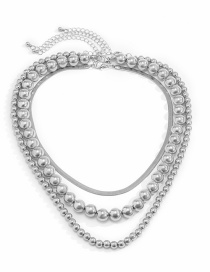 Fashion Silver Color Round Bead Chain Necklace