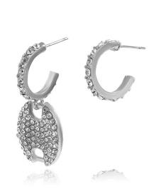 Fashion Silver Color Micro Diamond Pig Nose Ear Studs