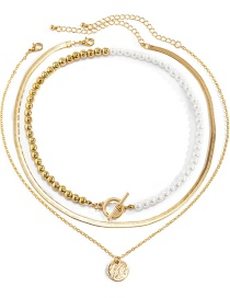 Fashion Gold Color 5 Multi-layered Bead Necklace