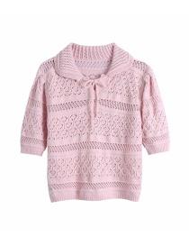 Fashion Pink Pure Color Jacquard Mesh Sweater