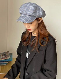 Fashion Dark Blue Lattice Wide Brim Octagonal Hat
