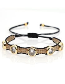Fashion Braided-gold Color Millet Bead Woven Shell Beaded Leopard Bracelet