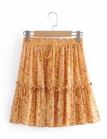 Fashion Orange Printed Elastic Waist Mini Skirt