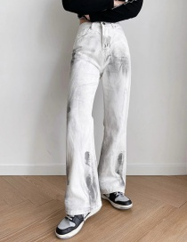 Fashion White Dirty Jeans Made Of Splashed Ink White