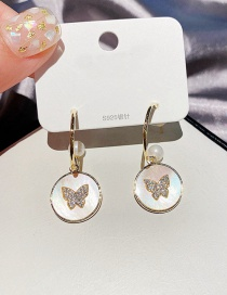 Fashion Real Gold Plated Butterfly Zircon Earrings