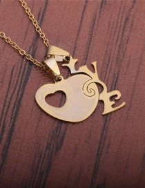 Fashion Gold Color Stainless Steel Cut Fully Polished Love Love Necklace