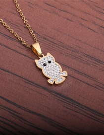 Fashion Gold Color Stainless Steel Animal Owl Necklace