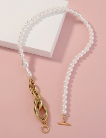 Fashion Golden Pure White Pearl Metal Horse Eye Necklace