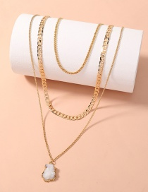 Fashion Beige Multi-layered T-buckle Necklace