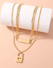 Fashion Golden Love Hollow Lock-shaped Thick Chain Double Necklace