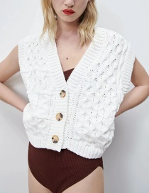 Fashion Off White Eight-strand Knitted Vest