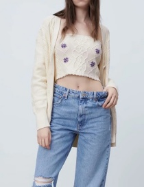 Fashion Beige Embroidered Button Knitted Sweater