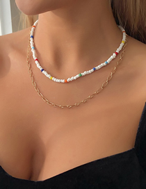 Fashion Gold Color Color Rice Bead Double Alloy Necklace