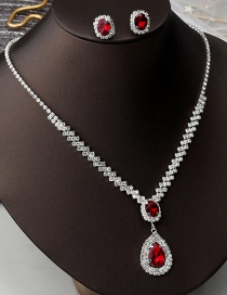 Fashion Red Water Drop Two-piece Set Of Full Diamond Gemstone Earrings And Necklaces