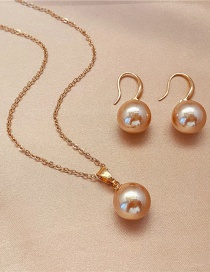 Fashion Silver Color Champagne Bead Earrings Necklace Two-piece Set