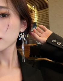 Fashion Silver Color Silver Bow Tassel Earrings