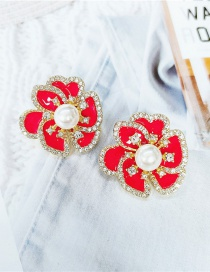 Fashion Red Sequined Gold Cutout Floral Earrings
