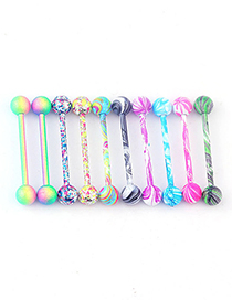 Fashion Water Pattern Tongue Nail Single (random Color) Water Grain Paint Stainless Steel Tongue Nails