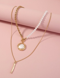 Fashion Gold Color Metal Multilayer Necklace With Pearl Buckle