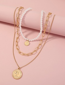 Fashion Gold Color Portrait Coin Multilayer Pearl Necklace