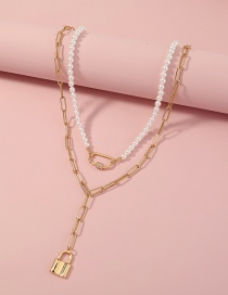 Fashion Gold Color Gold Lock Y-chain Imitation Pearl Multilayer Necklace