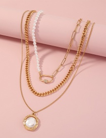 Fashion Gold Color Imitation Pearl Multilayer Metal Necklace