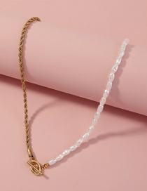 Fashion Gold Color Pure White Highlight Imitation Pearl Necklace