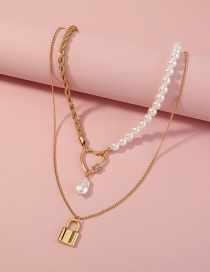 Fashion Gold Color Metallic Love Gold Lock Imitation Pearl Multilayer Necklace