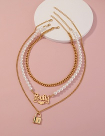 Fashion Gold Color Letter Pearl Lock Multi-layer Can Necklace