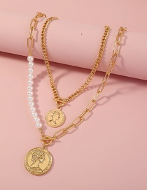 Fashion Gold Color Coin Imitation Pearl Multilayer Necklace