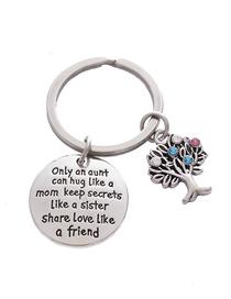 Fashion Silver Color Stainless Steel Diamond Life Tree Aunt Letter Keychain