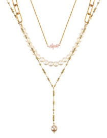 Fashion Color Alloy Pearl Multilayer Y-shaped Necklace